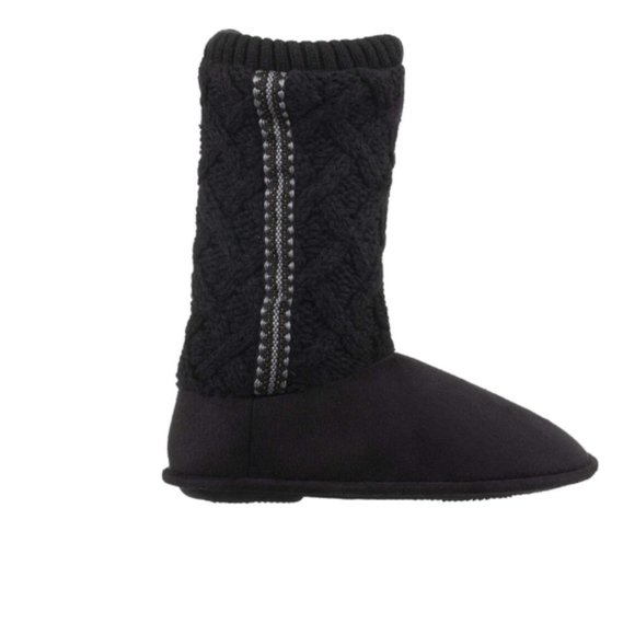 Isotoner Sweater Knit Tall Slipper Booties Boots